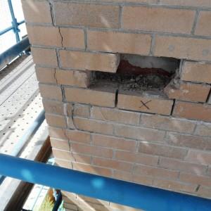 Brickwork cracking and detachment restoration